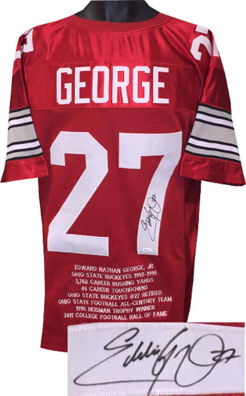 quality design 5801a 90ad0 Eddie George Ohio State Buckeyes Autographed Red Custom Stitched College  Football Jersey #27 w/Embroidered Stats XL - JSA Witnessed ITP Holo