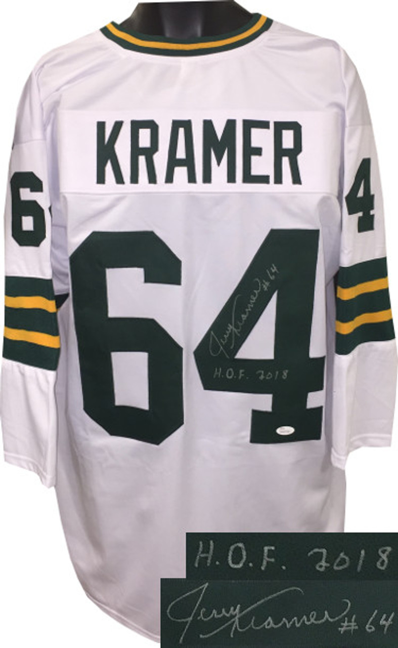 on sale facb9 0478f Jerry Kramer signed Green Bay Packers White Throw Back 3/4 Sleeves Custom  Stitched Pro Style Football XL Jersey #64