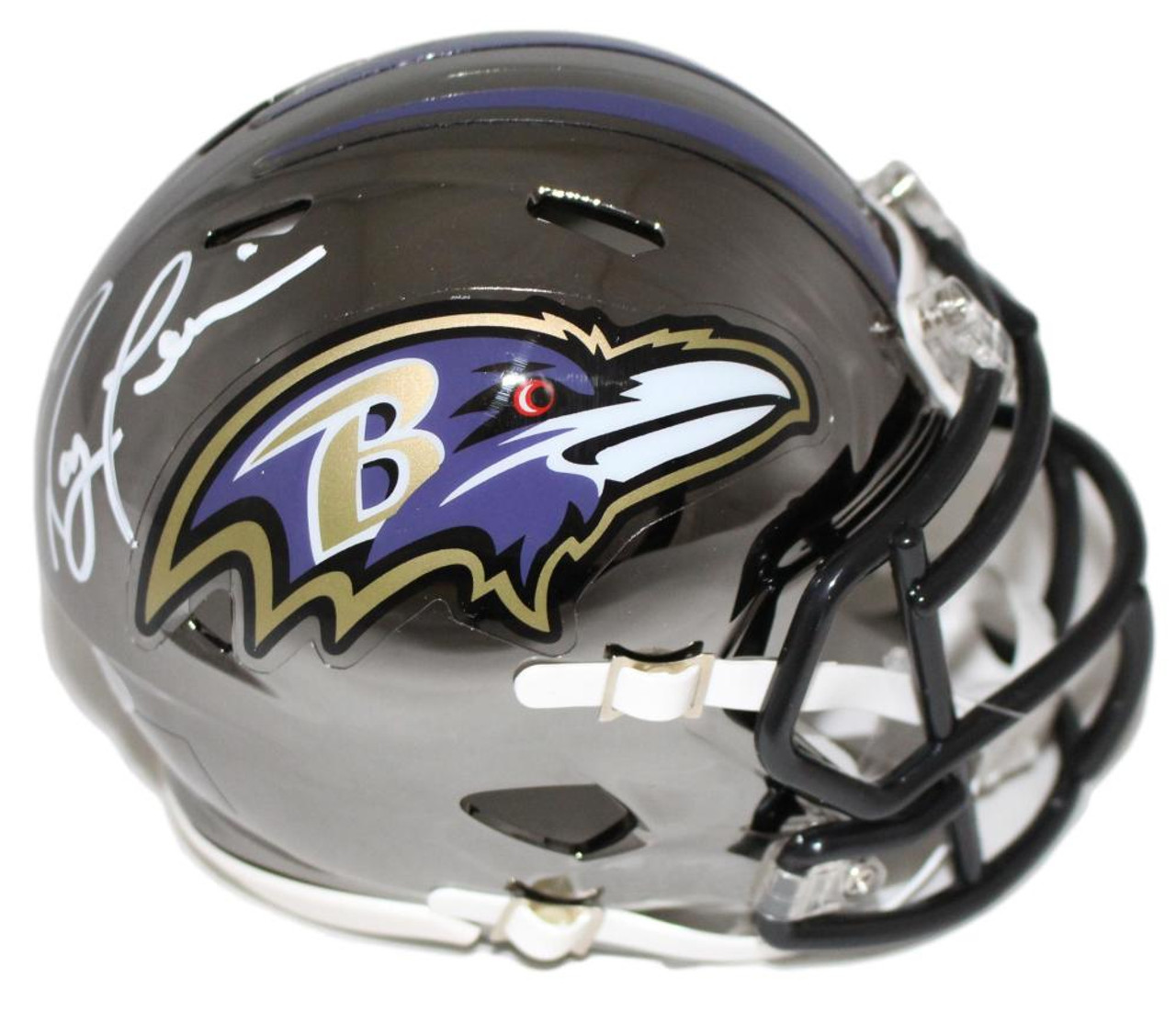 Ray Lewis Autographed Mini Helmet Baltimore Ravens Chrome Bas