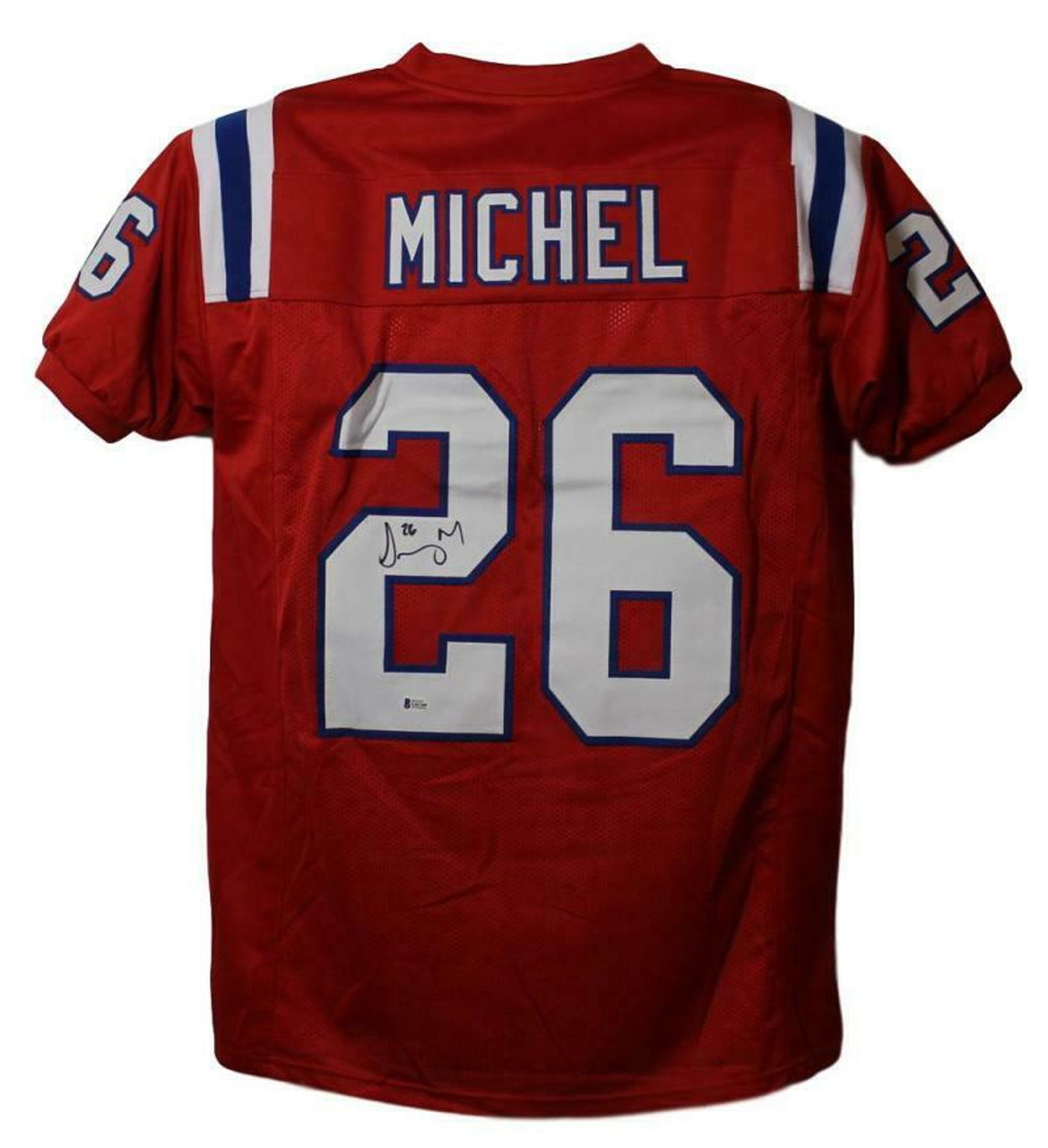 Sony Michel Autographed Jersey - New England Patriots Red XL BAS