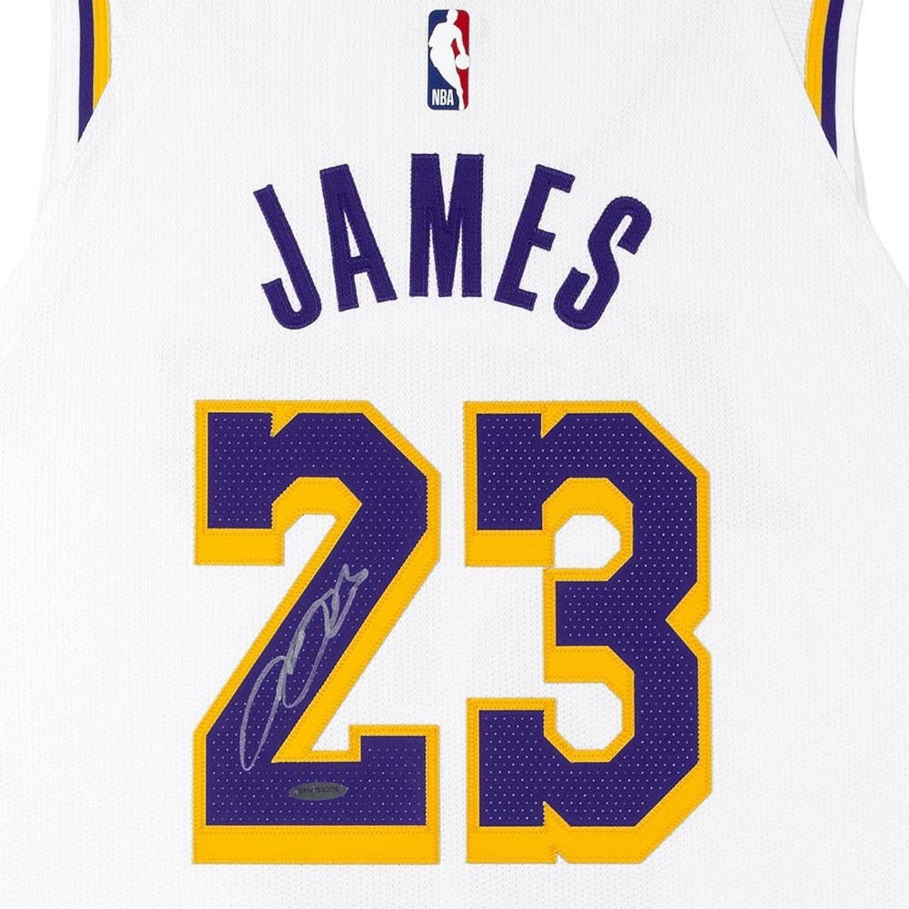 Shop LeBron James Autographed White Los Angeles Lakers Association ...