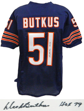 cf67c55ea Dick Butkus signed navy custom football jersey with 'HOF 79' inscription.