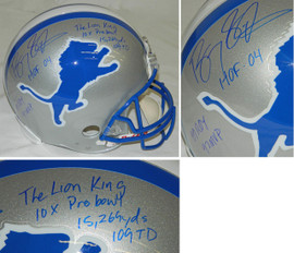 82abe34e63f Barry Sanders Signed Lions Riddell Throwback Full-Size Replica Helmet w 7  Inscriptions
