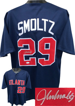 timeless design 56c8a 3bee2 John Smoltz Atlanta Braves signed Gray Custom Stitched ...