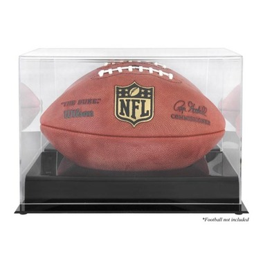 Black Base Football Display Case with Mirror