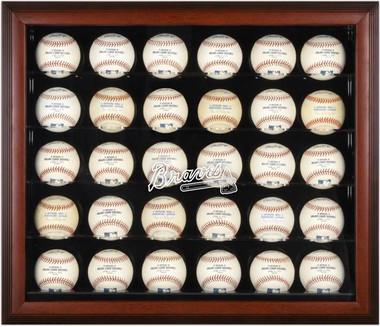 Mahogany Framed MLB 30-Ball Braves Display Case