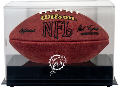 Black Base Football Dolphins Display Case