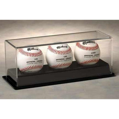 3 Baseball Display Case with Black Base