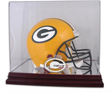 Mahogany Football Helmet Packers Display Case