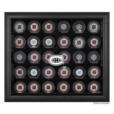 Black Framed NHL 30-Puck Canadiens Display Case