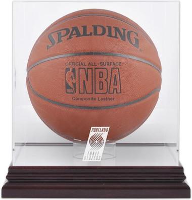 Portland Trailblazers Mahogany Basketball Display Case