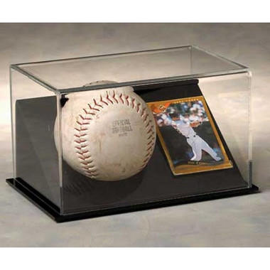1 Softball with Trading Card Display Case with Black Base