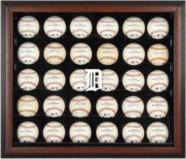 Brown Framed MLB 30-Ball Tigers Display Case
