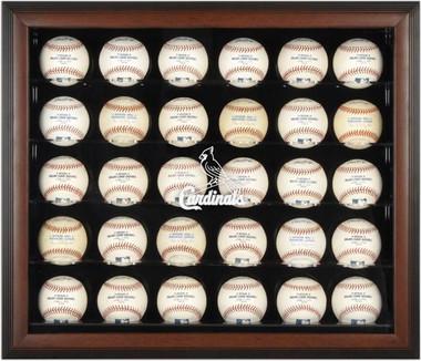 Brown Framed MLB 30-Ball Cardinals Display Case