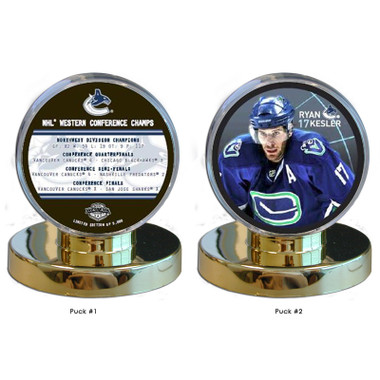 Vancouver Canucks 2011 Western Conference Championship Two Puck Set