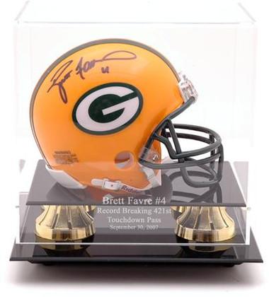 Brett Favre Record-Breaker Golden Classic Mini Helmet Display Case