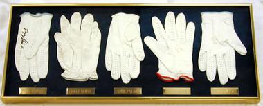 Autographed Golf Gloves with nameplates Stewart- Irwin- Faldo-Green & Tway