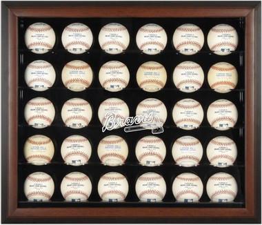 Brown Framed MLB 30-Ball Braves Display Case
