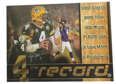 """Brett Favre Autographed """"4 the Record"""" 18x24 Poster"""
