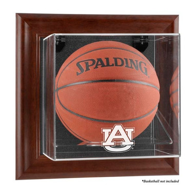 Auburn Tigers Brown Framed Wall Mountable Basketball Display Case