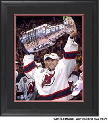 """Martin Brodeur New Jersey Devils Framed Autographed 16"""" x 20"""" Raising Cup Photograph with 3x SC Champ Inscription"""