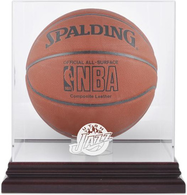 Utah Jazz Mahogany Basketball Display Case