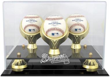 Golden Classic MLB Three Baseball Braves Display Case