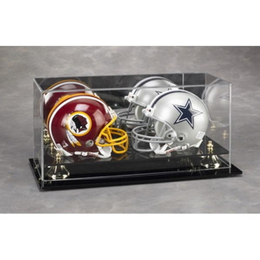 Mini Sized Helmet Dual Display Case with Gold Risers and Mirrored Background