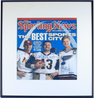 St Louis Gateway Greats Sporting News Cover Framed Autographed by Jim Edmonds Kurt Warner and Chris Pronger