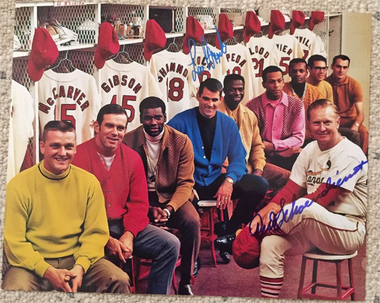 1968 St. Louis Cardinals Reproduction of SI Cover - Signed by Red Schoendienst & Lou Brock