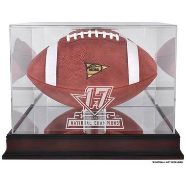 Alabama Champ Logo Mahogany Football Display Case