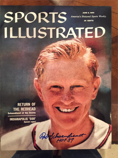 """Red Schoendienst Signed Photo of Sports Illustrated Cover - June 6, 1960 with inscription """"HOF 89"""""""