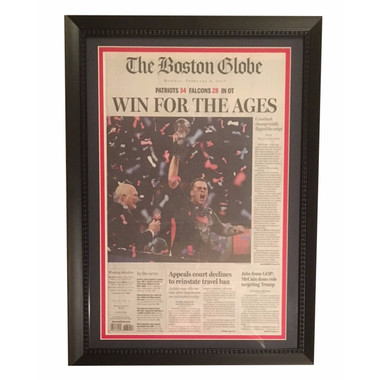 Tom Brady framed Boston Globe Article