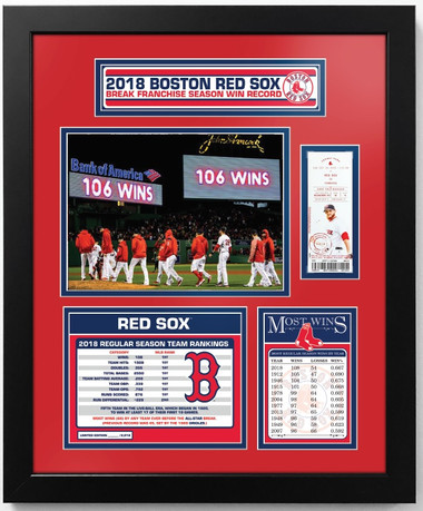 Boston Red Sox All-Time Franchise Record for Wins - Matted Piece