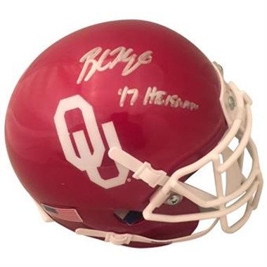 "Baker Mayfield Autographed MINI OU Helmet with ""17 Heisman"" Inscription"