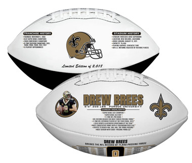 Drew Brees, NFL All-Time Passing Leader, Commemorative Rawlings Football