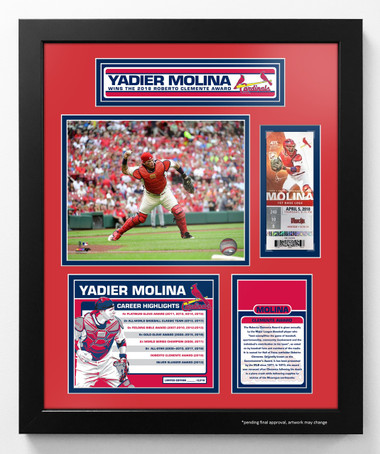Yadier Molina 2018 Clemente Award Framed Piece