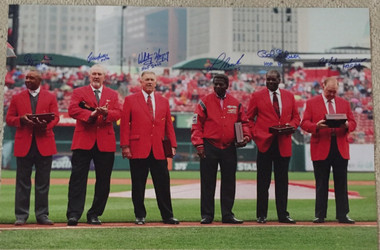 St. Louis Cardinals 30x20 Photo of HOF Players - Opening Day 2013 - Ozzie Smith, Bruce Sutter, Whitey Herzog, Lou Brock, Bob Gibson and Red Schoendienst