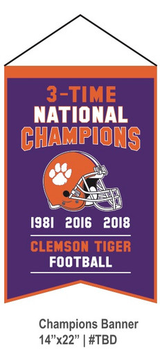 Clemson Tigers 3 Times Champions Banner