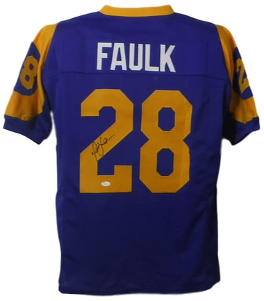 51c303a1 Marshall Faulk Autographed Los Angeles Rams Custom Size XL Blue Jersey  (Name Only) JSA