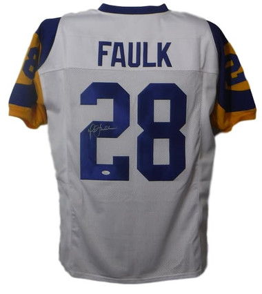 Marshall Faulk Autographed Los Angeles Rams Custom Size XL White Jersey (Name Only) JSA