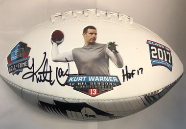 Kurt Warner, Los Angeles Rams, Autographed HOF Commemorative Football