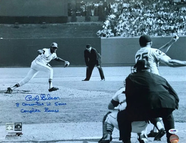 "Bob Gibson Autographed 8x10 Photo - Game 1, 1968 World Series with ""8 Consecutive World Series Complete Games"" inscription"