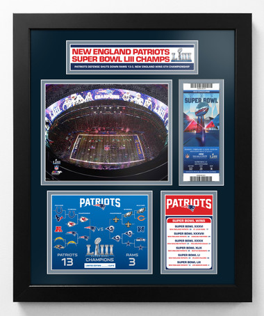 New England Patriots Super Bowl LIII Championship Commemorative Framed and Matted Piece