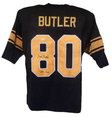 Jack Butler Autographed Pittsburgh Steelers Black Size XL Jersey w/HOF 2012