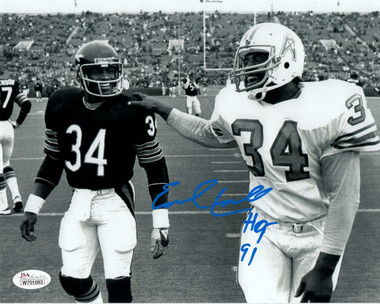 Earl Campbell Autographed Houston Oilers 8x10 Photo w/Walter Payton & JSA