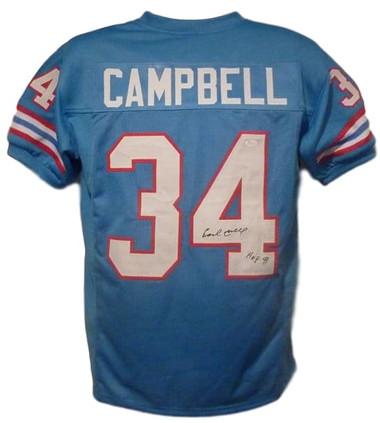 Earl Campbell Autographed Jersey - Houston Oilers XL Blue HOF JSA