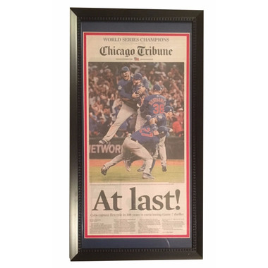 "Chicago Cubs ""At Last!"" Framed 14x26 Tribune Front page"
