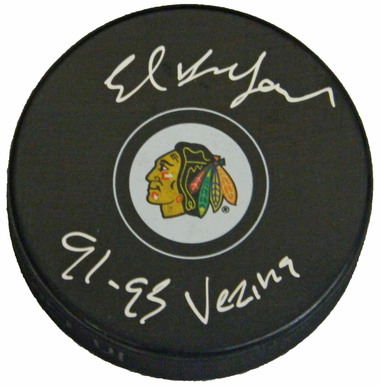"Ed Belfour autographed Blackhawks Logo Puck inscribed ""91, 93 Vezina"""
