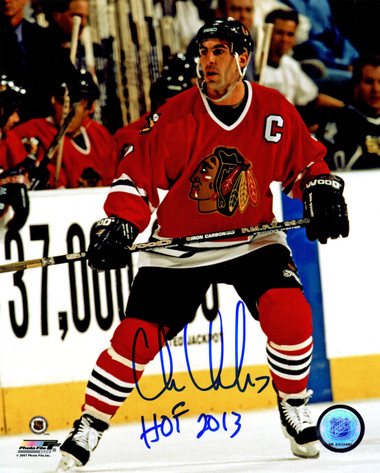Chris Chelios Signed Chicago Blackhawks Action 8x10 Photo w/HOF 2013